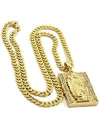 Mens Gold Plated Hip-Hop Iced Block Virgin Mary Pendant...
