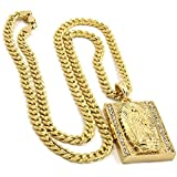 Jewel Town Mens Gold Plated Hip-Hop Iced Block Virgin Mary Pendant 5mm 24'' Cuban Chain Necklace D534