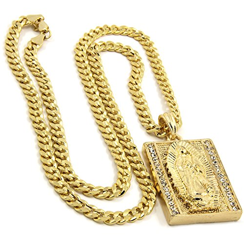 Pendants Cuban - Jewel Town Mens Gold Plated Hip-Hop Iced Block Virgin Mary Pendant 5mm 24