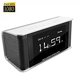 CAMXSW HD 1080P Hidden Spy Camera Alarm Clock FM Radio Speaker / Motion Activated / Night Vision / Security Covert DVR Nanny Cam Motion activated TOP Secret with Invisible IR lights(White)