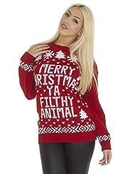 Unisex Plus size Merry Christmas Ya Filthy Animal Xmas Jumper