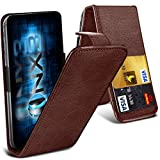 ONX3® (Brown) ZTE Grand X2 Universal Luxury Style Folding PU Leather Spring Clamp Holder Top Flip Case with 2 Cards slot, Slide Up and Down Camera