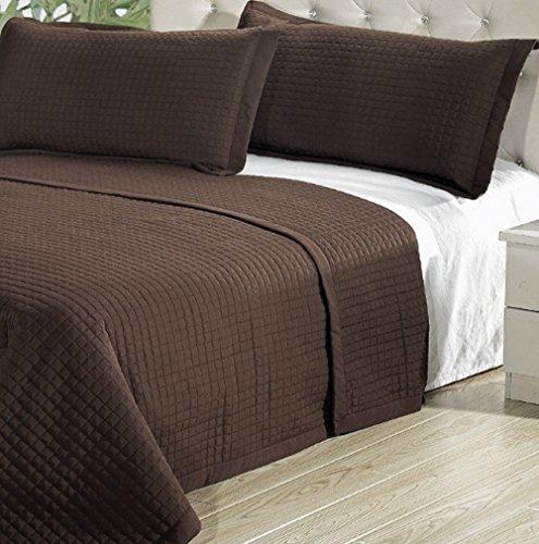 Modern Solid Brown Lightweight Bedding Quit Coverlet Set ...