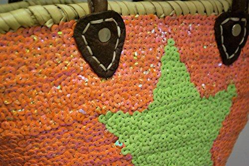 Capazo Bolso Pequeño Lentejuelas Palma Naranja Estrella Verde