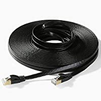 Hexagon Network - Ethernet Cable Cat7 Flat 50ft Black,...