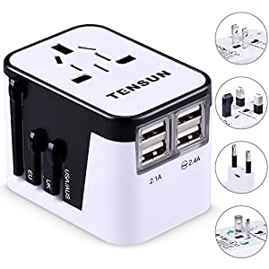 Travel Adapter, Tensun International Power Adapter for European Plug Wall AC Charger Socket with 4 USB Charging for iPad, iPhone 7 / 7s / Plus, SE, Galaxy S7 / S6 Edge, S5, Note, LG