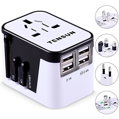 Travel Adapter, Tensun International Power Adapter for European Plug Wall AC Charger Socket with 4 USB Charging for iPad, iPhone 7 / 7s / Plus, SE, Galaxy S7 / S6 Edge, S5, Note, LG (European Socket)