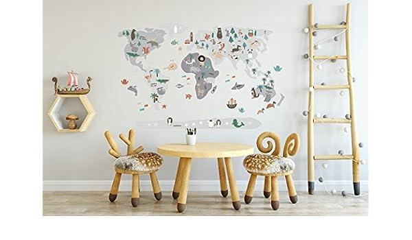 Menudos Cuadros Vinilo Decorativo Infantil mapamundi Gris de ...