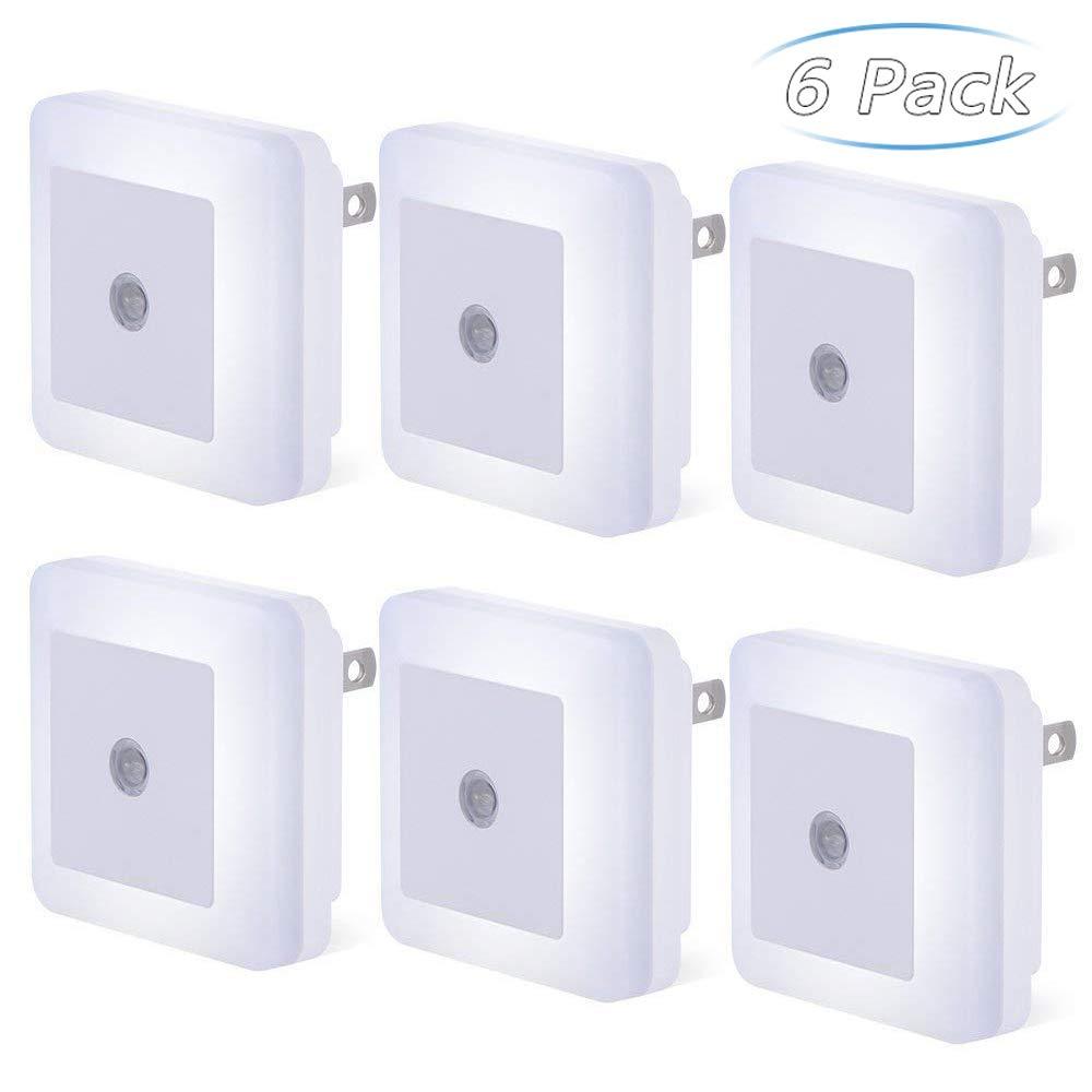 Plug-in LED Sensor Night Light, 6 Pack Compact Dusk to Dawn Sensor Daylight White Light Lamp Wall Light Energy Efficient for Bedroom, Hallway, Bathroom, Kitchen, Stairs - Daylight White