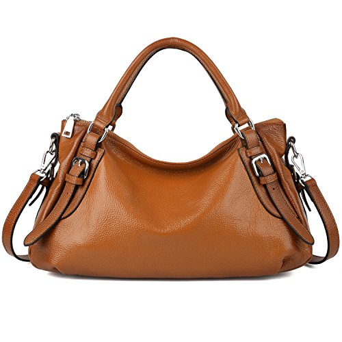 YALUXE Women's Soft Real Leather Handy Hobo Style Handbag (Upgraded 2.0) Brown Leather Small Hobo Bag