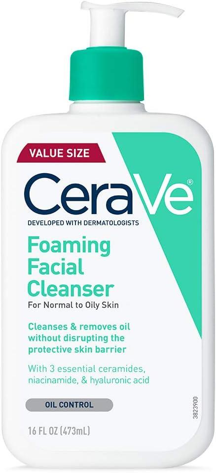 Limpiador facial de espuma CeraVe, 473 ml para el lavado diario de la cara, piel normal a grasa