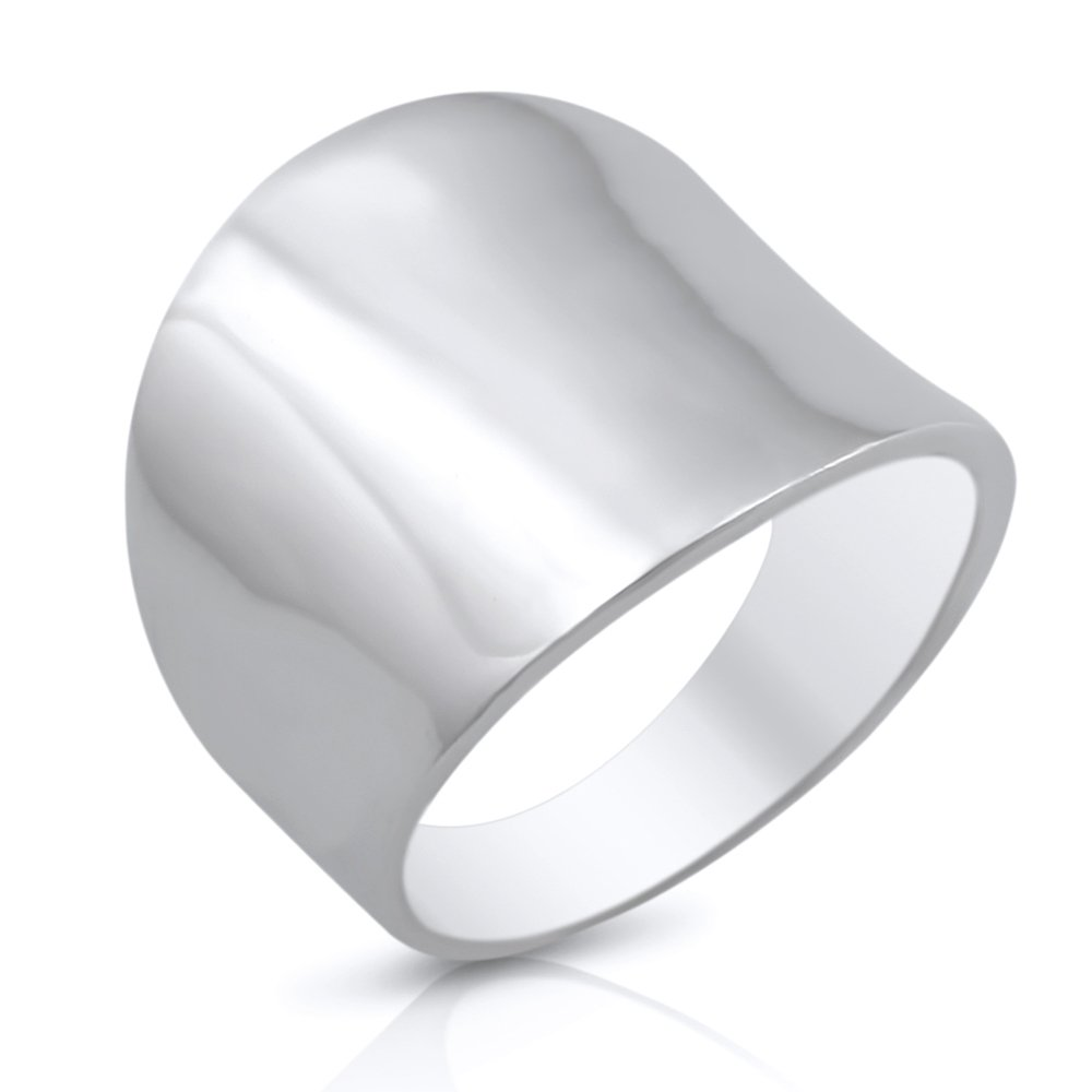 Sterling Silver 19mm Plain Wide Cigar Band Ring - Size 8 by Mimi Silver