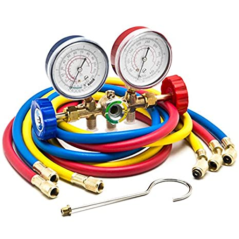 Biltek HVAC R12 R22 R502 A/C Diagnostic Manifold Gauge Kit w/ 3 Color 60