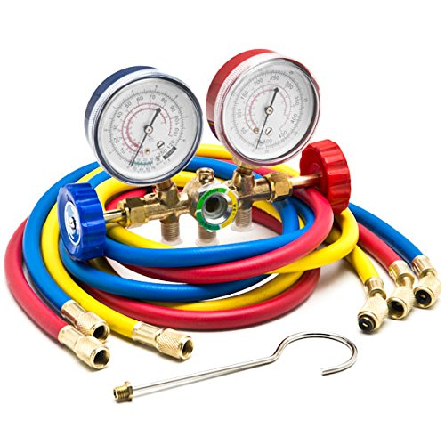 HVAC R12 R22 R502 A/C Diagnostic Manifold Gauge Kit w/ 3 Color 60' Charging Hose KapscoMoto
