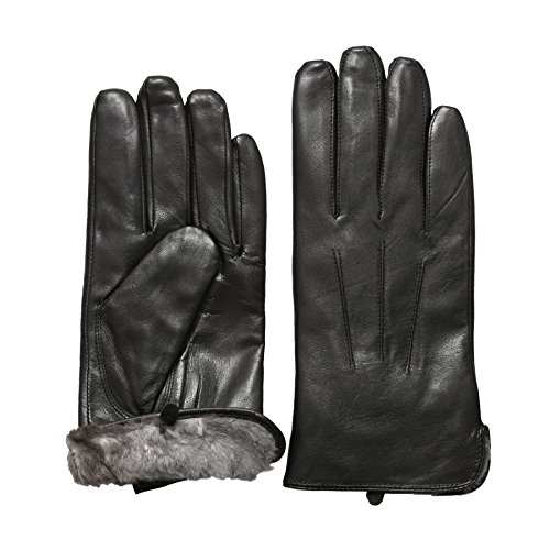 Rob Riverdale Men's Luxury Rabbit Fur Lined Genuine Soft Black Leather Gloves (SMALL) (Mens Rabbit Fur Lined Black Leather Gloves)