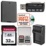 LP-E10 Battery & Charger + 32GB SD Card Essential Bundle for Canon Rebel T5, T6 & T7 Digital SLR Camera