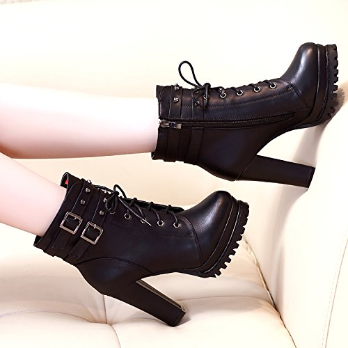 KHSKX-La Nueva Inglaterra Martin Botas De Invierno Mujer Botas Rough Heels Plus Impermeable Todas Coinciden Con Zapatos De Invierno Botas De TerciopeloTreinta Y OchoBlack