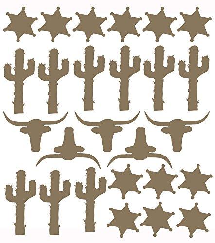 Sweet Potato Happy Trails Vinyl Decal, Cacti/Steers/Sherriff Badges