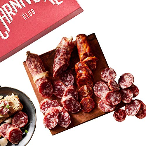 Carnivore Club Gift Box (Gourmet Food Gift) - Comes in a Premium Gift Box - 4 Meats Sampler From Angel's Salumi - Food Basket - Great with Crackers Cheese Wine - Gift For Men and Women