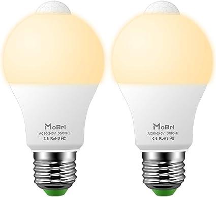 Mobri Led Pir Motion Sensor Light Bulb 10w E27 Auto On Off Led Sensor Bulbs Es E27 Edison Screw 100w Equivalent Warm White 2800k 2 Pack Amazon Co Uk Kitchen Home