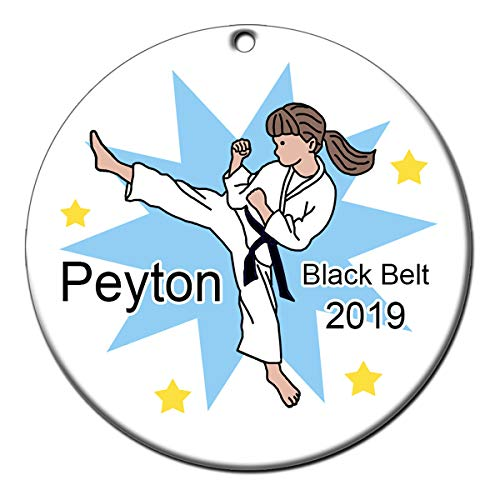 Karate, Tae Kwon Do or Martial Arts Personalized Ornament - Girl with Brown Hair