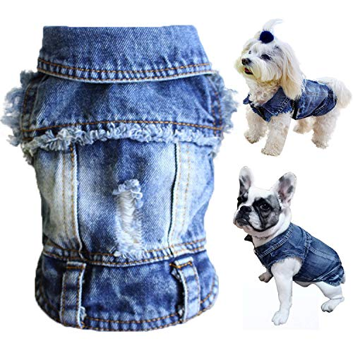 Brocarp Dog Jean Jacket, Blue Denim Lapel Vest Coat T-Shirt Costume Cute Girl Boy Dog Puppy Clothes, Comfort and Cool Apparel, for Small Medium Dogs Cats, Machine Washable Dog Outfits (S, Blue)