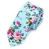 LUISDAN Floral Tie Men's Cotton Printed Flower Neck Tie Skinny Narrow Neckties