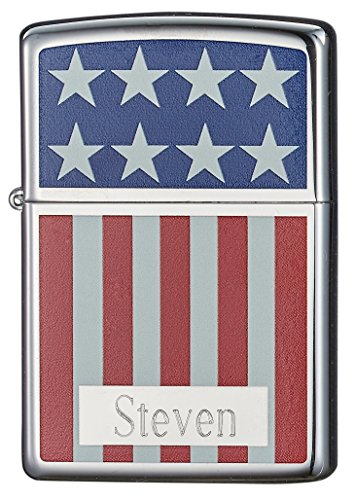 - Personalized Zippo American Flag Colored & Chrome Lighter with Free Engraving