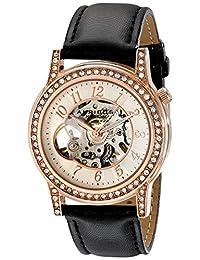 Akribos XXIV Women's AK475RG Bravura Open Heart Skeleton Automatic Dress Leather Strap Watch
