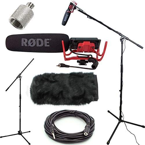 Microphone Videomic Camera Shotgun Mounted (RODE VideoMic Studio Boom Kit with windmuff- VM, windmuff, Boom Stand, Adapter, 25' Cable)