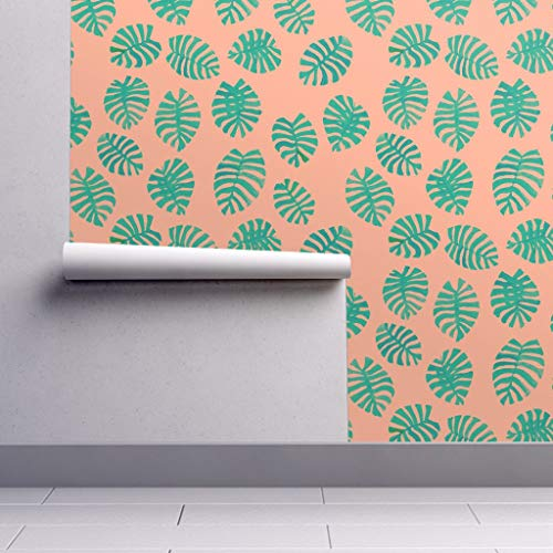 Peel-and-Stick Removable Wallpaper - Tropical Leaf Pink and Green Preppy Tropical Palm The Prime by Theprimefloridian - 12in x 24in Woven Textured Peel-and-Stick Removable Wallpaper Test Swatch (Wallpaper Preppy)