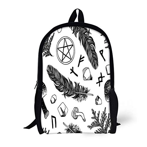 Pinbeam Backpack Travel Daypack Witchcraft Pattern Ritual Things Wicca Attributes for Young Waterproof School Bag -