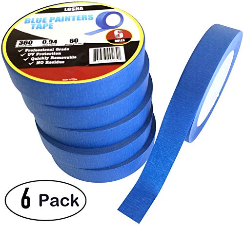 (6 Pack 0.94'' Blue Painters Tape, UV Resistant, No Residue, No Damage, 60 Yards Length, 6 Rolls per Pack, 360 Yards Total Length)