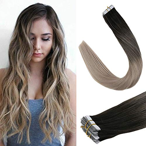 "LaaVoo 22"" Tape in Human Hair Extensions Seamless Skin Weft Rooted Balayage Color Off Black Ash Blonde 50g 20Pcs Popular Hair Color For Women 20 Pieces 50g/Package (#1b/18)"