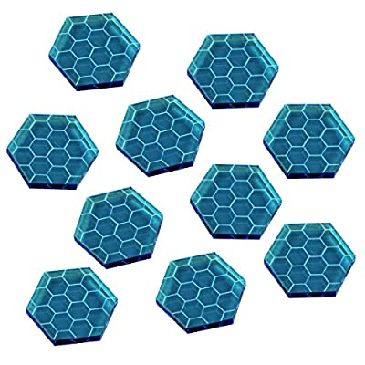 Space Shield Tokens (Set of 10, Fluorescent Blue) by Litko Game Accessories
