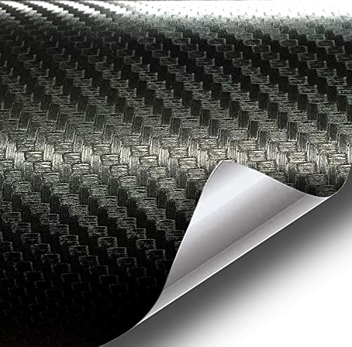 VViViD XPO Dry Deep Black 3D Carbon Fiber Vinyl Wrap Roll with Air Release Technology (6ft x 5ft (Hood, Roof or Trunk Wrap Kit))