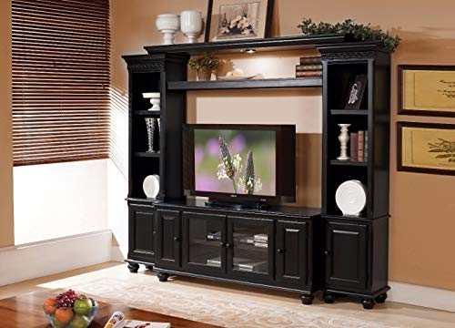 Benzara Wooden Wall Unit with Two Piers and Bridge, Black (Pier Center Entertainment Cabinet)