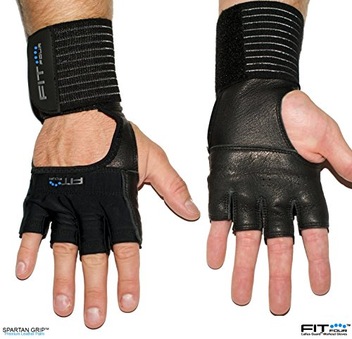 The F4X Spartan - Full Leather Palm | Fit Four Callus Guard WOD Workout Gloves for Weight Lifting & Cross Training Athletes (Leather, Extra - Elizabeth Nj Stores