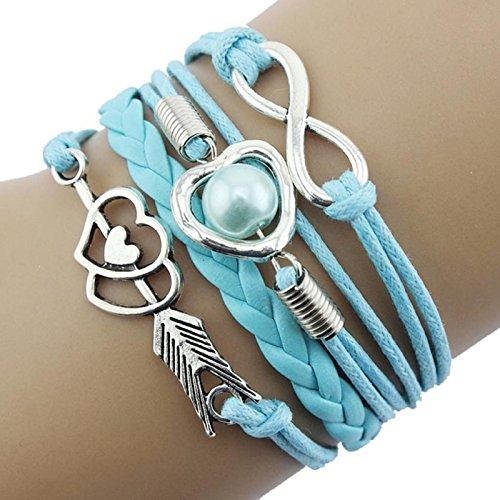 Owill Infinity Love Heart Pearl Friendship Bracelet Antique Cupid Arrow Leather Bracelet (A, Sky Blue) ()