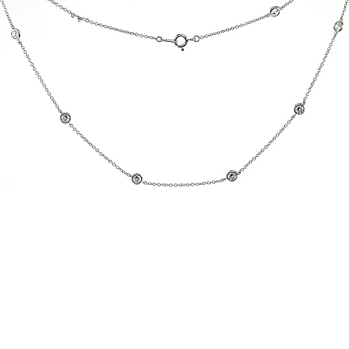 Sterling Silver Cubic Zirconia 4mm Diamond By The Yard Necklace, 16, 18, 20, 22, 24, 36, 40 inches long