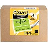 BIC Round Stic Xtra Life Ball Point Stick Pen, Medium Point, 1.0 mm Black Ink, 144-Count