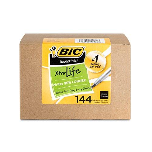 BIC Long Lasting Ballpoint Stick Pen , Black (GSM144AZ-BLK)