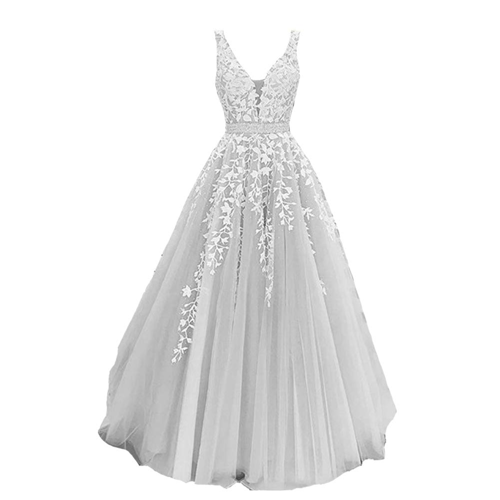 White Lace Silver Lemai Sheer V Neck Long Tulle Beaded Lace A Line Formal Evening Gown Prom Dress