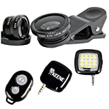 Keene Smartphone Camera Kit - Pro HD Camera Lens Kit 3 in 1 Clip-On Fisheye + Wide Angle + Macro Lens, Mini LED Spotlight, Wireless Bluetooth Camera Shutter Remote - Compatible with iPhone & Andriod