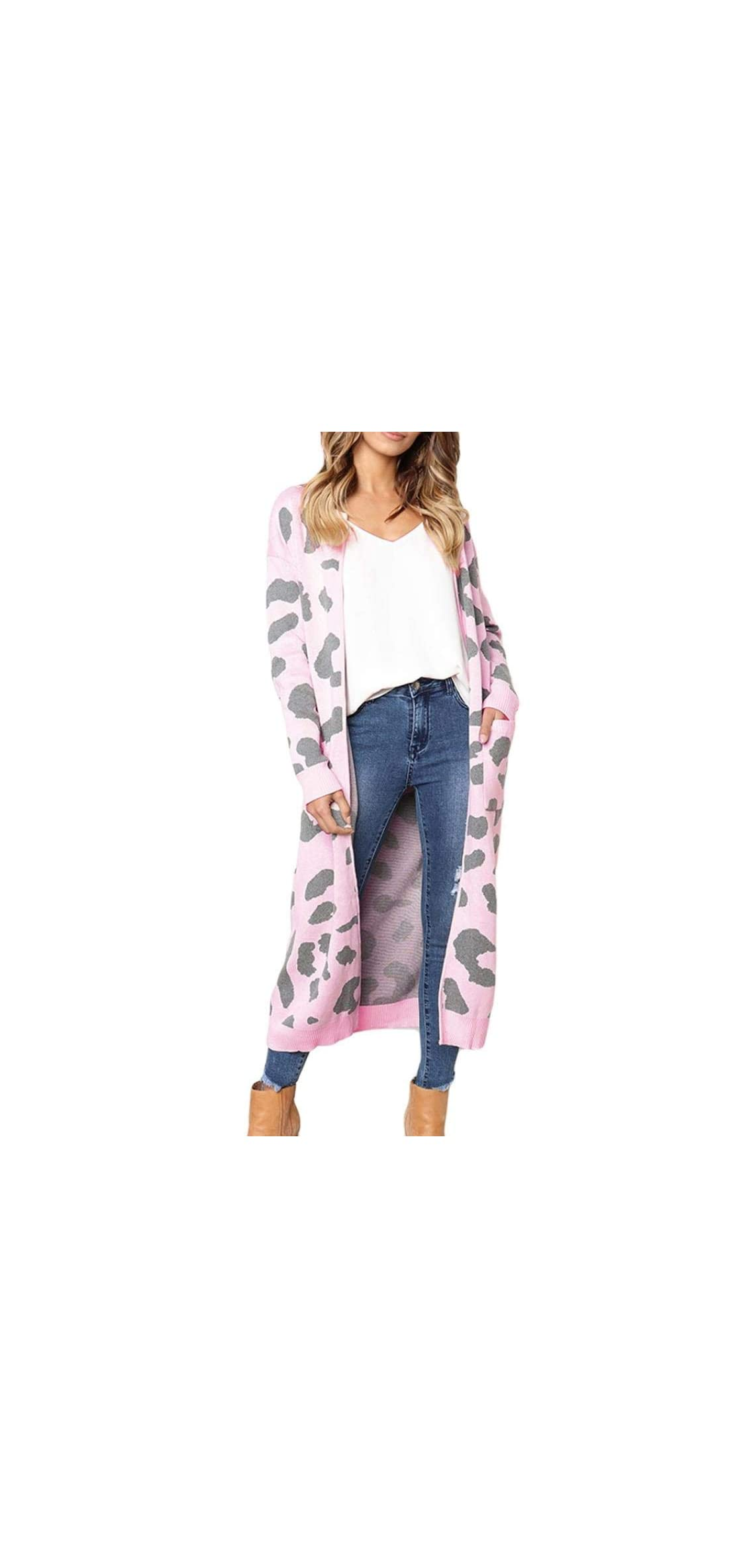 Fashion Women's Leopard Print Long-sleeved Cardigan