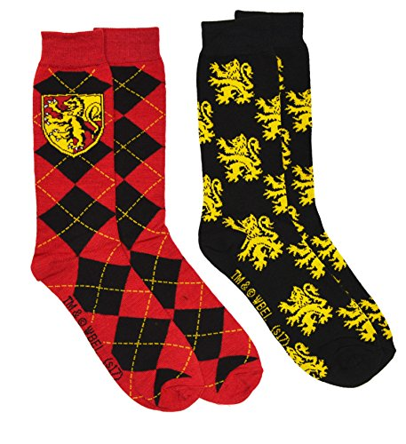 Harry Potter 2 Pack Gryffindor Ravenclaw Huffle Puff Slytherin House Mens Crew Socks (Gryffindor) from HYP