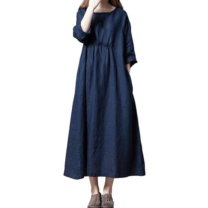 3ee5d1309e13 Lino e Cotone Vestiti Manica lunga Donna Elegante LandFox Sexy Abito casual  abito lungo da donna