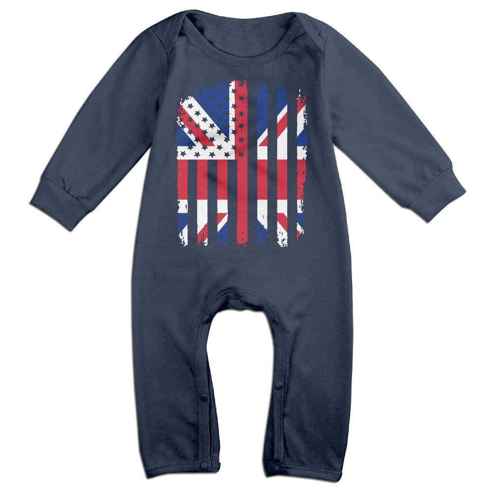 Toddler Baby Boy Girl Long Sleeve Jumpsuit British American Flag Toddler Jumpsuit