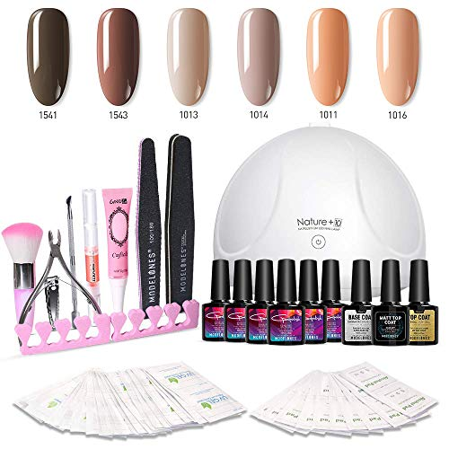 (Modelones Gel Nail Polish Kit with UV Light - 6 Nude Colors in 10ML, 24W Nail Lamp, Matte Top Coat, Base and Top Coat, Upgraded Manicure)
