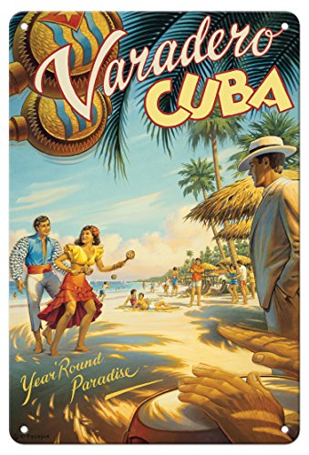 Pacifica Island Art 8in x 12in Vintage Tin Sign - Varadero, Cuba - Year Round Paradise - Native Cuban Dancers with Maracas by Kerne Erickson]()